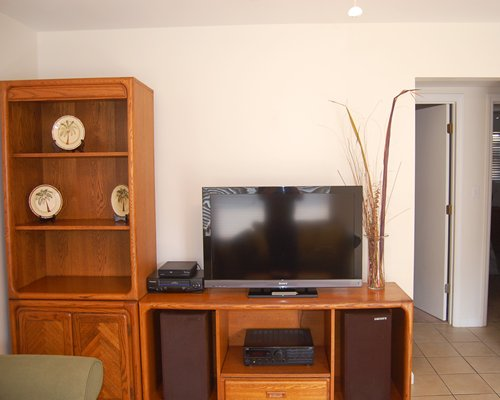 Living room with a television and shelf.