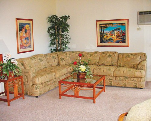 A well furnished living room with a large pull out sofa.