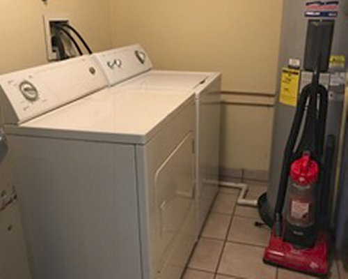 An indoor laundry room.
