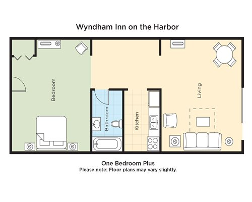 A floor plan of one bedroom Plus.