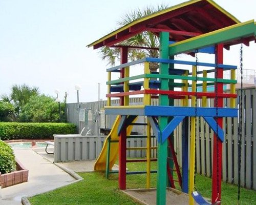 A landscape view of an outdoor play area.