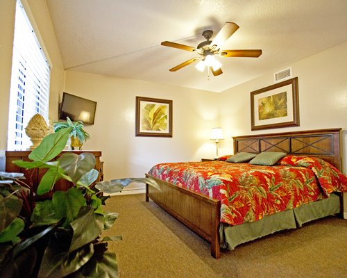 A well furnished bedroom with king bed and television.