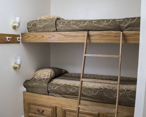 A bedroom with bunk bed.
