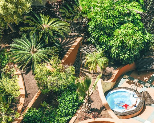An aerial view of outdoor hot tub.