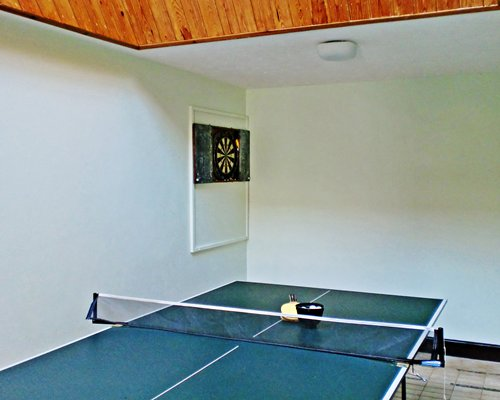 An indoor ping pong table.