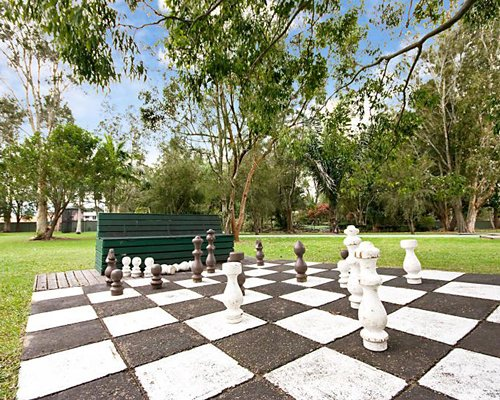 An outdoor chess board.