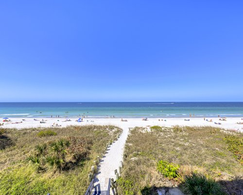 Scenic outdoor swimming pool with chaise lounge chairs.