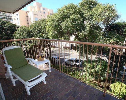 A patio furniture in a balcony.