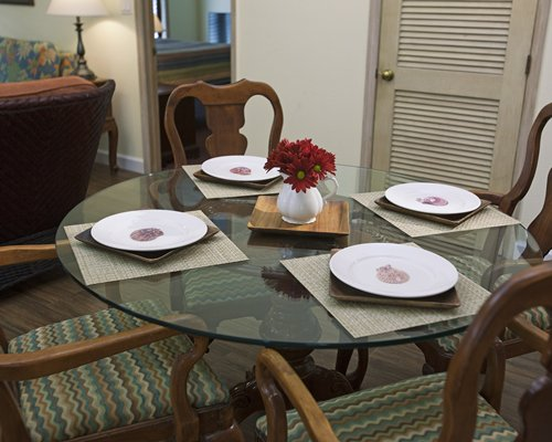 A view of glass top dining table.
