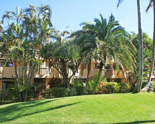 Scenic exterior view of multiple unit balconies at La Lucia Sands.