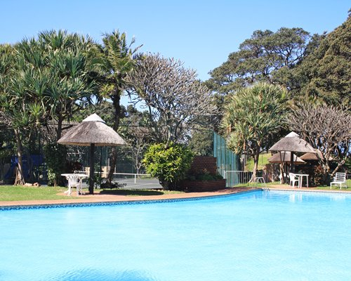 Scenic outdoor swimming pool with patio chairs and thatched sunshades.