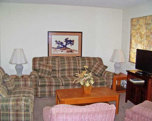 A well furnished living room with double pull out sofa and a television.