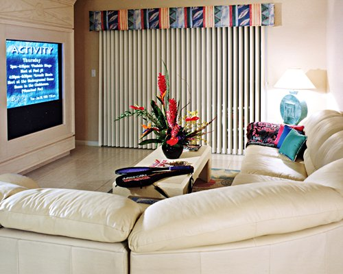 A well furnished living room with pullout sofa and television.