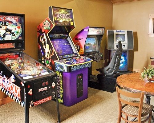 Indoor arcade game room.