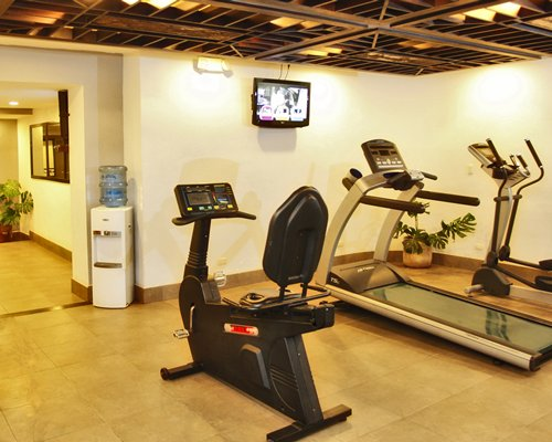 A well equipped indoor fitness centre.