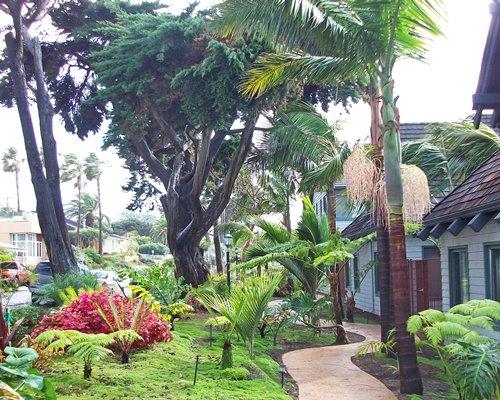 A pathway alongside resort units.