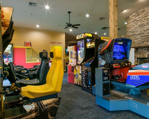 A resort video arcade game room.