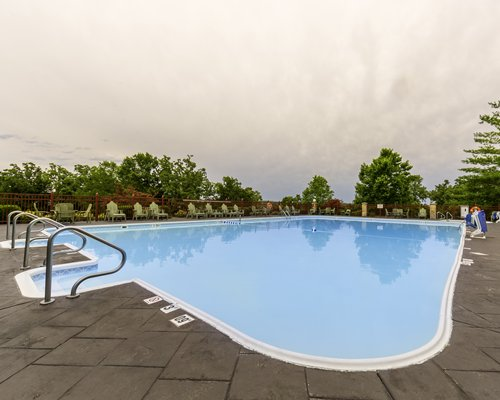 A large outdoor swimming pool.