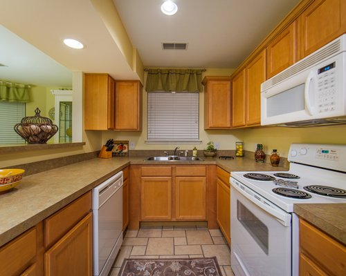 A well equipped open kitchen area.