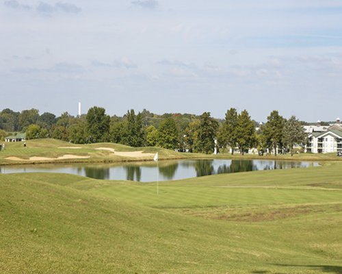 Scenic view of a golf course of the resort.