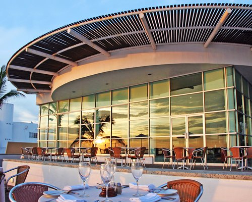 An outdoor restaurant alongside the resort unit.