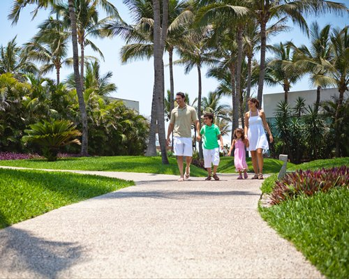 A family walking on a pathway.