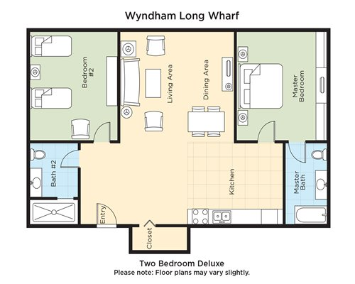A floor plan of two bedroom Deluxe.