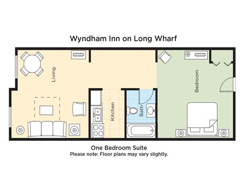 A floor plan of one bedroom Suite.