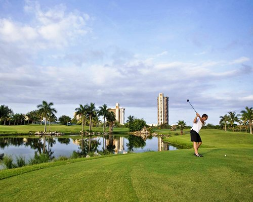 A man enjoying a round of golf at the course alongside a lake with palm trees.