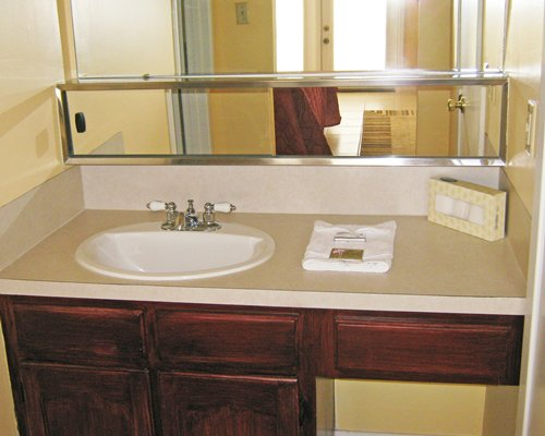 A view of single sink vanity.
