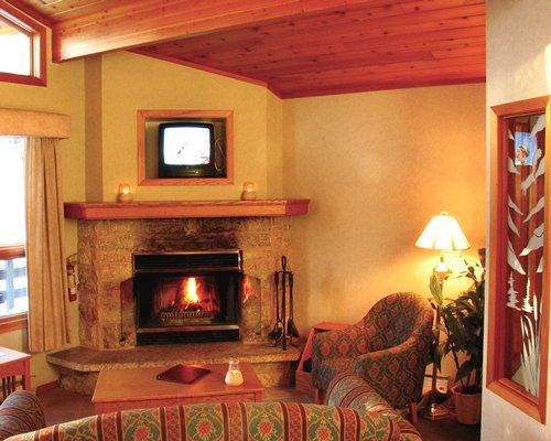 A well furnished living room with the television and fire in the fireplace.