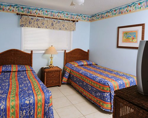 A well furnished bedroom with two twin beds and a television.
