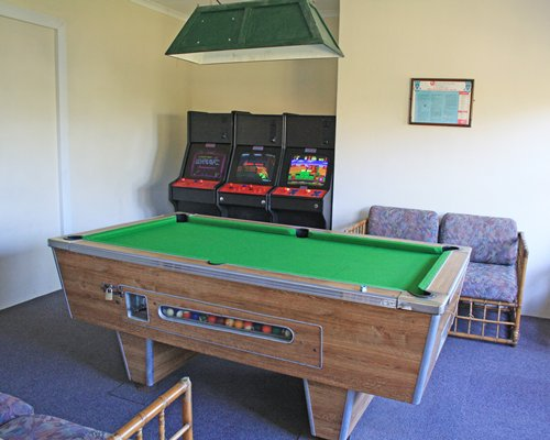A view of the billiards table in the recreation center.
