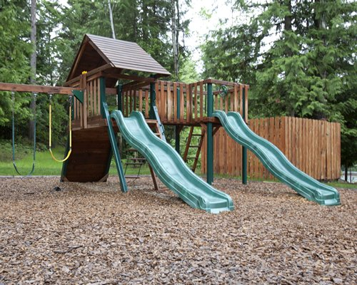 Kids playscape surrounded by wooded area.