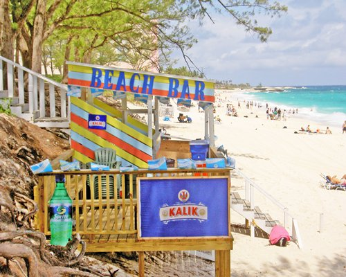 A beach bar at the beach.