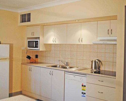 A well equipped kitchen with a microwave oven.