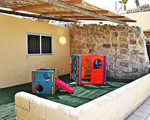 An outdoor playscape area.