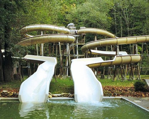 An outdoor pool with waterslides surrounded by trees.
