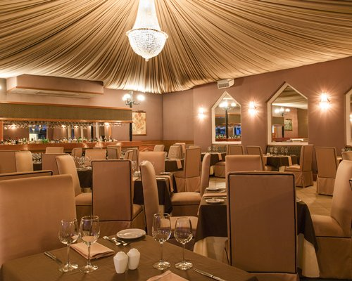 A well furnished fine dining indoor restaurant.