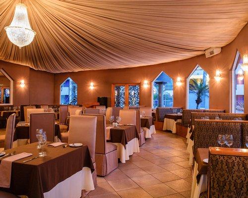 An indoor restaurant at Marina de Oro.