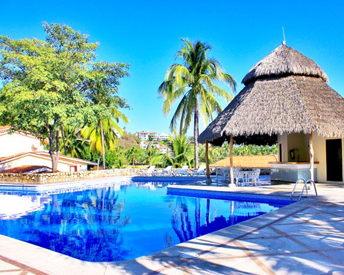 Outdoor swimming pool with chaise lounge chairs thatched sunshade and patio furniture.