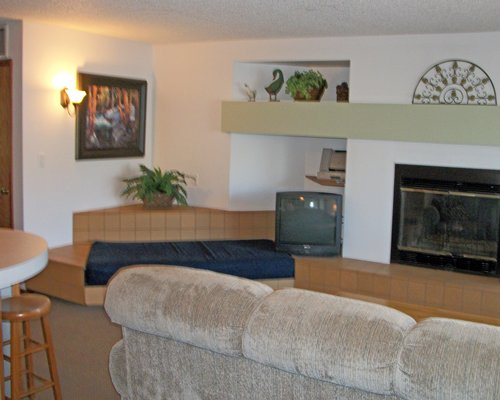 A well furnished living room with a television dining area and fireplace.