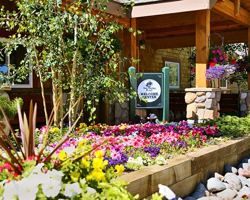 Entrance to a restaurant at Swan Mountain Resort.