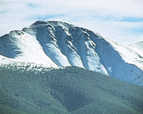 A view of the snowy mountain.