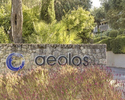 Signboard of Aeolos Beach Club resort.