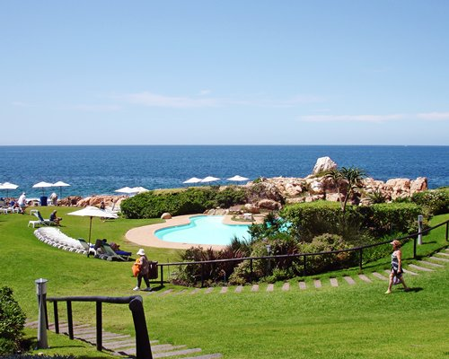 An outdoor swimming pool alongside the ocean surrounded by lush green grass.