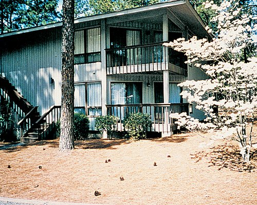 Exterior view of a unit with with balconies surrounded by wooded area.
