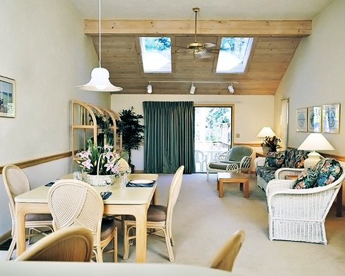 An open plan living room and dining area with an outside view.