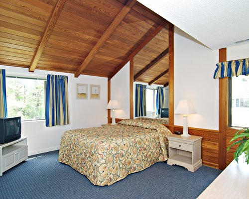 A well furnished bedroom with a queen bed television and outside view.