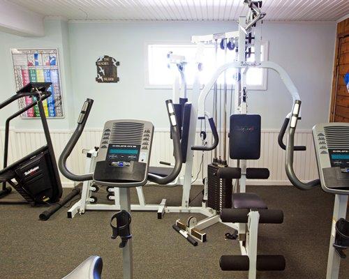 An indoor fitness area.